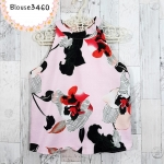 Blouse3460 เสื้อแฟชั่นทรงสวย คอกลม ไหล่ล้ำ ผ้ามิลิน(ผ้าทอหนาเนื้อดี) ลายดอกไม้โทนสีชมพู