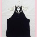 **สินค้าหมด blouse1819 เสื้อแฟชั่นโชว์ไหล่คอเพชร ผ้าชีฟองสีดำ