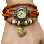 นาฬิกาข้อมือผู้หญิง นาฬิกา สายหนังถัก แบบสร้อยข้อมือ ห้อยจี้รูปหัวใจ สไตล์วินเทจ สีส้ม ของขวัญ น่ารัก ๆ ให้แฟน no 970434_1