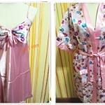 ชุดนอน วาบหวิว ผ้าลื่น ผ้าซาติน พร้อมเสื้อคลุม สีชมพูลายดอกไม้ b001