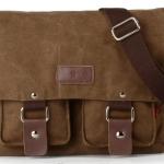 กระเป๋าสะพายข้างผู้ชาย ผ้า canvas ผ้ายีนส์ กระเป๋าใส่หนังสือ ไปเรียนมหาลัย กระเป๋าสะพายข้างอย่างดี หนา ใช้งานทนทาน ราคาถูก สีน้ำตาล no 915363