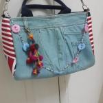 กระเป๋าสะพายไหล่+พวงกุญแจน่ารัก ยีนส์สีเขียว สวยมาก