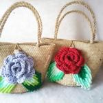 กระเป๋ากระจูดสาน ขนาด 7*7 นิ้ว basket weave bags