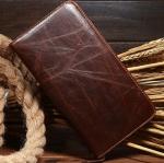 กระเป๋าสตางค์ผู้ชาย กระเป๋าสตางค์ ใบยาว หนังวัวแท้ อย่างดี กระเป๋าสตางค์ซิปรอบ สีน้ำตาล ใส่เงินได้เยอะ โชว์ลายหนัง สุดคลาสสิค 878296