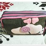 กระเป๋าใส่ดินสอ ใส่ของจุกจิก ลายดอกไม้ สีชมพูผสมน้ำตาล KP911