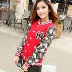 เสื้อ แจ็คเก็ต ผู้หญิง แบบ เสื้อ เบสบอล เสื้อคลุม วัยรุ่น ผู้หญิง สีแดง ดีไซน์ แขนหนัง ลายดอกไม้ เท่ ๆ ไม่ซ้ำใคร เสื้อใส่เรียน ใส่เที่ยว แบบเก๋ ๆ 979518_1