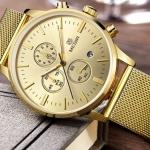 นาฬิกาข้อมือ ผู้ชาย สาย stainless แท้ ดีไซน์ สายแบบแบน เพิ่มความหรูหรา หน้าปัดกลม สีทอง ดำ สีเงิน นาฬิกา สำหรับ หนุ่มนักบริหาร ของขวัญ สุดพิเศษ 924567