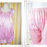 ชุดนอน ผ้าซาติน สีชมพู 103