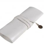 กระเป๋าใส่เครื่องสำอางค์ กระเป๋าใส่ดินสอ ปากกา หนังแท้ สไตล์ วินเทจ สามารถใส่ ดินสอ เขียนตา ดินสอแต่งหน้าได้ สีขาว no 31790
