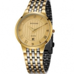 นาฬิกาข้อมือ ผู้ชาย สาย Stainless steel สีเงินสลับทอง หลายแถว นาฬิกาข้อมือ แบบหรูหรา ฝังเพชรด้านใน มีระบบ วันที่ นาฬิกาให้แฟน สุดหรู 994621