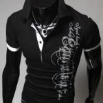 เสื้อยืดผู้ชาย เสื้อคอปก แบบพอดีตัว Slim fit แบบสวย ลายเพ้นท์ เท่ ๆ สีดำ มี Detail แขนเสื้อ คนละสี เสื้อใส่เที่ยว เท่ ๆ ราคาถูก 204122