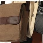 กระเป๋าสะพายข้างผู้ชาย ผ้าแคนวาส กระเป๋าสะพายผ้ายีนส์ สีน้ำตาล แบบมีฝาเปิดปิด ราคาพิเศษ กระเป๋าสะพายขนาดกลาง ใช้ไปเรียน ไปเที่ยว 405722