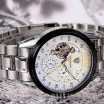 นาฬิกาโชว์กลไก นาฬิกาข้อมือเปลือย นาฬิกาข้อมือผู้ชาย สาย สแตนเลส แท้ หน้าปัด Chronograph แนว Sport กันน้ำ หน้าปัดขาว 827802