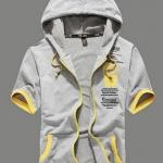 เสื้อ แจ็คเก็ต ผู้หญิง ผู้ชาย Jacket แบบมีฮู้ด เสื้อหมวก แขนยาว สีเทา ตัดขอบสีเหลือง สวยเท่ แฟชั่น ยุโรป เสื้อกันหนาว เก๋ ๆ 40250_1