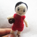 ตุ๊กตานักกีฬารักบี้จิ๋วถักโครเชต์ ขนาด 3 นิ้ว mini doll rugby amigurumi crochet 3 inches