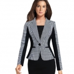 เสื้อสูท เสื้อแจ็คเก็ต เสื้อคลุม ลายสก็อต เสื้อสูท สไตล์ นักบริหาร สาวสวย สูทแขนยาว แบบสวย มีซับใน 785634