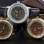 นาฬิกาโชว์กลไก ดีไซน์ หรู หน้าปัด สีทอง สีเงิน สี Rose Gold ด้านในแกะลาย Mechanical watch นาฬิกาสายหนังแท้ สีดำ 565524