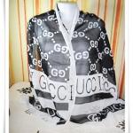 ผ้าพันคอ ผ้าคลุมไหล่ เนื้อซีฟอง gucci สีดำ S005