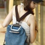 กระเป๋าเป้ กระเป๋าสะพายหลัง 2 สไตล์ เป็นได้ทั้ง กระเป๋าสะพายหลัง และ กระเป๋าสะพายข้าง ผ้า canvas อย่างดี สไตล์ เกาหลี น่ารักสุด ๆ สีน้ำเงิน no 330663