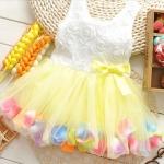 ชุดกระโปรงเด็กผู้หญิง อายุ 6 - 24 เดือน เดรสแขนกุด กระโปรง สีเหลือง สีสันสดใส ใส่ดอกไม้ใน กระโปรง เสื้อแขนกุด ปักกุหลาบขาว 785574_5