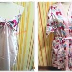 ชุดนอน สายเดี่ยว ผ้าลื่น ผ้าซาติน พร้อมเสื้อคลุม สีชมพูดอกไม้แดง b012