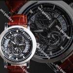 นาฬิกาข้อมือ ผู้ชาย แบบ โชว์กลไก นาฬิกาสายหนังวัว แท้ มีระบบ แสดงวันที่ ได้ สายหนังสีน้ำตาล นาฬิกานำเข้า ลดราคา no 72007