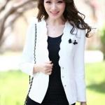 เสื้อคลุม เสื้อ Jacket เสื้อสูท ผู้หญิง สีขาว แบบสุภาพ ดีไซน์ ขอบเสื้อโค้ง เสื้อสูทผู้หญิง ใส่ออกงาน ใส่ทำงาน ติดต่องาน ดูดี มีระดับ 584549_2