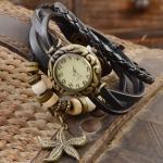 นาฬิกาข้อมือ ผู้หญิง นาฬิกาสายหนังถัก สไตล์สร้อยข้อมือ สีดำ เท่ ๆ งาน Hand made ห้อย จี้ ปลาดาว วินเทจ เก๋ อย่างมีสไตล์ 799462_4