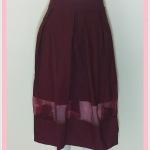 **สินค้าหมด skirt282 กระโปรงผ้าสกินนี่ เอวจับจีบซิปข้าง ชายแต่งผ้าใยแก้ว(ผ้าโปร่ง) สีเลือดหมู Size L เอว 30-36 นิ้ว