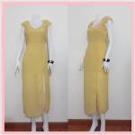 **สินค้าหมด dress2214 แม็กซี่เดรส/เดรสยาวแฟชั่น คอวี แขนกุดจับจีบบ่า กระโปรงผ่าข้าง ผ้าชีฟองสีเหลืองพาสเทล