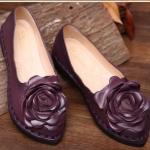 รองเท้าหุ้มส้น ผู้หญิง รองเท้าหนังแท้ รองเท้าคัทชู รองเท้าใส่เที่ยว ทำงาน รองเท้าหนังนิ่ม ดีไซน์ ดอกกุหลาบ สีม่วง เปลือกมังคุด เรียบหรู ดูดี 270218_4