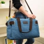กระเป๋าใส่เสื้อผ้า กระเป๋าเดินทาง ผ้าแคนวาส อย่างหนา สีสันสดใส ผูหญิง ผู้ชายใช้ได้ กระเป๋าสะพายข้าง ได้ สีดำ สีฟ้า สีเทา สีกากี สีเขียวทหาร 830491