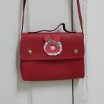 กระเป๋าสะพายข้าง สายยาว สีแดงใบเล็ก