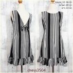 SALE!! dress3504 ชุดเดรสน่ารัก แต่งโบว์ด้านหลัง ชายระบาย ผ้าไหมอิตาลีเนื้อนิ่มลายริ้ว สีดำ