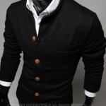 เสื้อกันหนาวผู้ชาย เสื้อคลุมผู้ชายแขน 3 ส่วน เสื้อ Jacket แบบสูท สไตล์ ยุโรป กระดุมหน้า มีกระเป๋าเสื้อ ด้านหน้า สีดำ no 825908_1