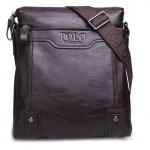 กระเป๋าสะพายข้าง ผู้ชาย Polo หนังแท้ ลง Wax แบบไม่มีฝาปิด ดีไซน์ เรียบหรู สีน้ำตาลเข้ม ใส่โทรศัพท์ กระเป๋าสตางค์ ขนาด 24 x 26 x 7 cm 282571