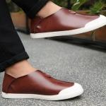 รองเท้าผ้าใบ ผู้ชาย รองเท้าหุ้มส้นชาย หนังแท้ สีน้ำตาลแดง สีดำ รองเท้าส้นแบน แบบสวม สำหรับผู้ชาย ใส่เที่ยว เท่ ๆ 119955
