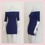 **สินค้าหมด dress2268 เดรสแฟชั่นเปิดไหล่ แขนสามส่วนปลายขาว ผ้ายืดเนื้อดี สีกรมท่า
