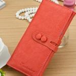 กระเป๋าสตางค์ใบยาว ผู้หญิง กระเป๋าหนัง สีพื้น สีส้มอิฐ มีกระดุมปิดหน้ากระเป๋า no 87672_4