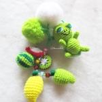 พวงกุญแจเต่าห้อยกระเป๋าถักโครเชต์ติดพู่ปอมปอมผลไม้ pompom tassel crochet