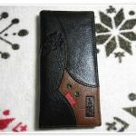 กระเป๋าสตางค์ Levis หนังแท้ สีน้ำตาลเข้ม ใบยาวแถบด้านล่าง Le5602