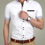 เสื้อเชิ้ตแขนสั้น เสื้อเชิ้ตผู้ชาย ใส่ทำงาน แบบมีสไตล์ เสื้อเชิ้ตแฟชั่น เสื้อคอปก ดีไซน์ กระดุม 2 สี มีกระเป๋าหน้า คอปก และ แขนลายทาง สีขาว 63196_1