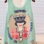 เสื้อแฟชั่นผู้หญิง แขนกุด ผ้าชีฟอง ลายการ์ตูน สีเขียว no 53255_4