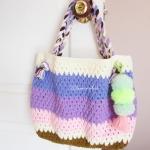 กระเป๋าถักโครเชต์ใบใหญ่สีหวานห้อยปอมปอมสีเขียว bag crochet