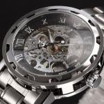 นาฬิกาข้อมือ โชว์กลไก Mechanical watch นาฬิกาข้อมือผู้ชาย สีเงิน หน้าปัดดำ ตัวเลขโรมัน สาย Stainless Steel สวยหรู ของขวัญให้แฟน 268605_5