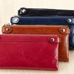 กระเป๋าสตางค์ผู้หญิง ใบยาว กระเป๋าสตางค์ หนังวัวแท้ เคลือบ Oil Wax ใช้งานทนทาน ซิปคู่ ใส่บัตรได้เยอะจุใจ ยิ่งใช้หนังยิ่งสวย 926424