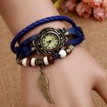 นาฬิกาข้อมือ ผู้หญิง สายหนังถัก แบบ สร้อยข้อมือ สไตล์ วินเทจ สีน้ำเงิน ห้อยจี้ รูปปีกนก หน้าปัดกลม คลาสสิค สวยเก๋ เท่ สุด ๆ 520286_1