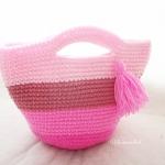 กระเป๋าถักไหมพรมสีชมพูสลับสี