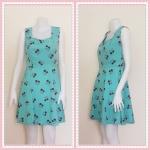 **สินค้าหมด dress2275 เดรสแฟชั่นแขนกุด ซิปข้าง ผ้าไหมอิตาลี่ลายเชอร์รี่ สีเขียวมิ้นท์