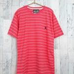 blouse3379-1 เสื้อยืดแฟชั่น อกปักรูปนกสไตล์ CC-OO ผ้าคอตตอนยืดเนื้อนิ่มลายริ้ว สีโอลด์โรส Size L